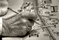 a great architect's hand