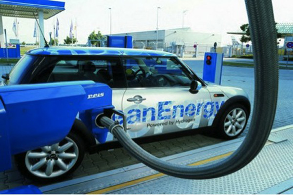 A fuel cell car filling up