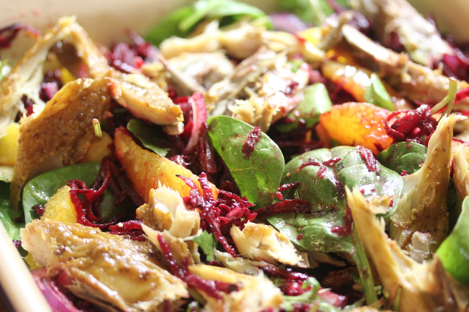 warm mackerel and beetroot salad